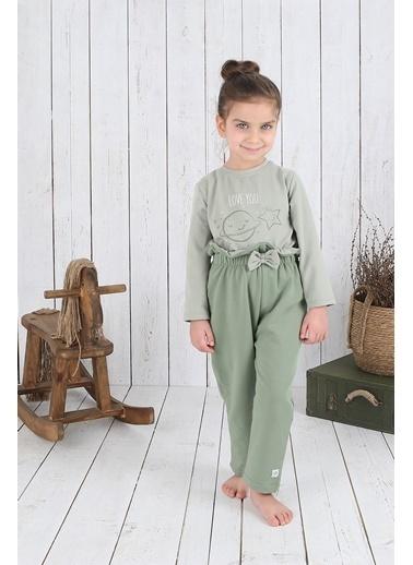 "Nila Kids Açık Yeşil Rengi ""Love You"" Kız Bebek Uzun Kollu Organik Tişört NK08013AY (6 AY- 5 YAş) Renkli"